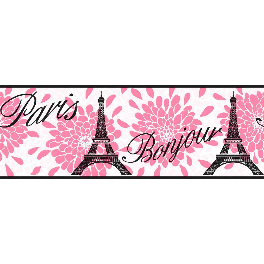 Chic Pink Paris Wallpaper Border KS2264B 1000x1000