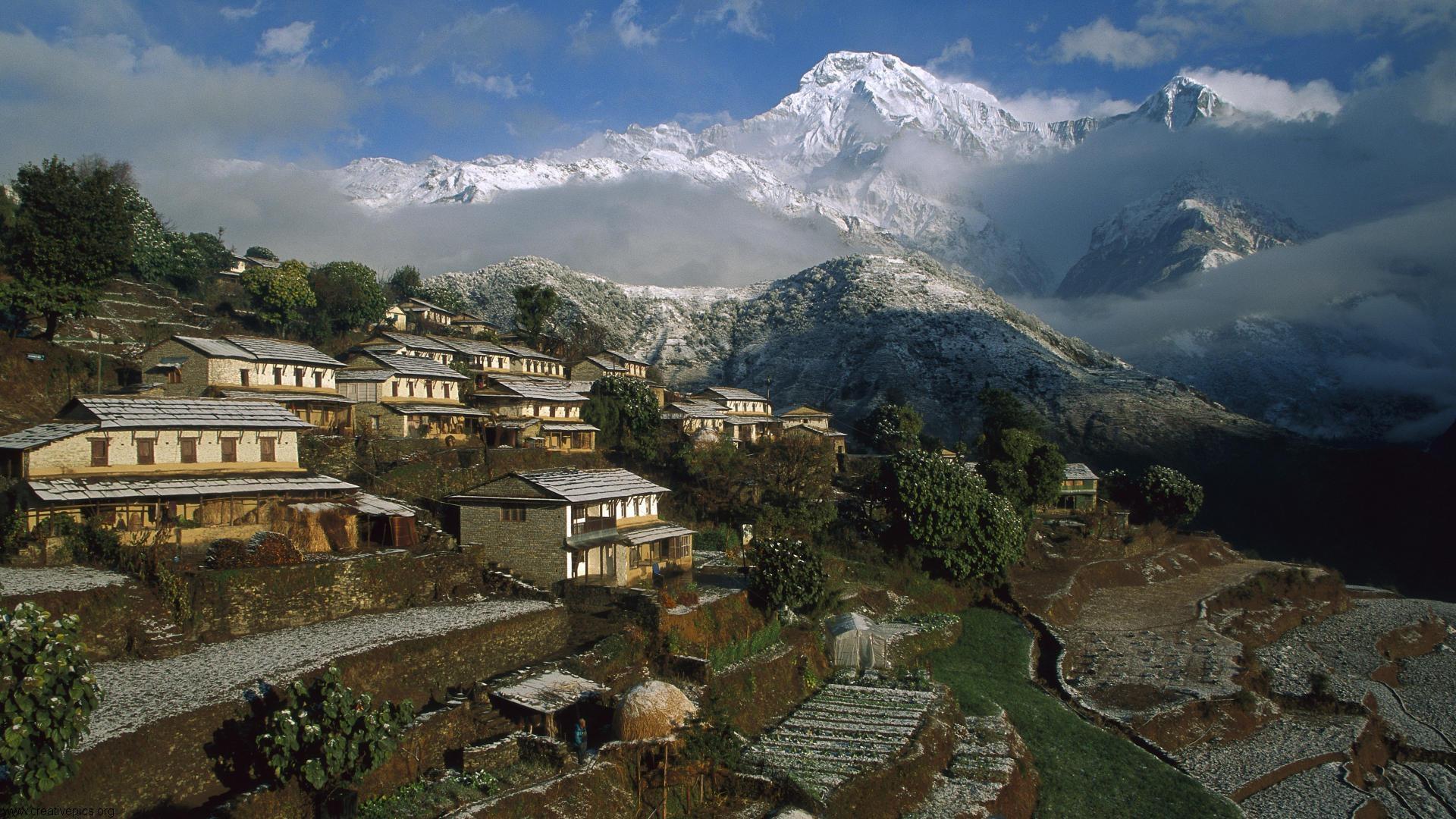 Village Annapurna Conservation Area Nepal HD Wallpaper   Creative Pics 1920x1080