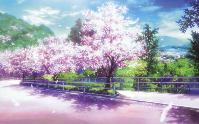 ... Cherry blossom path desktop/laptop wallaper. Listed in anime category