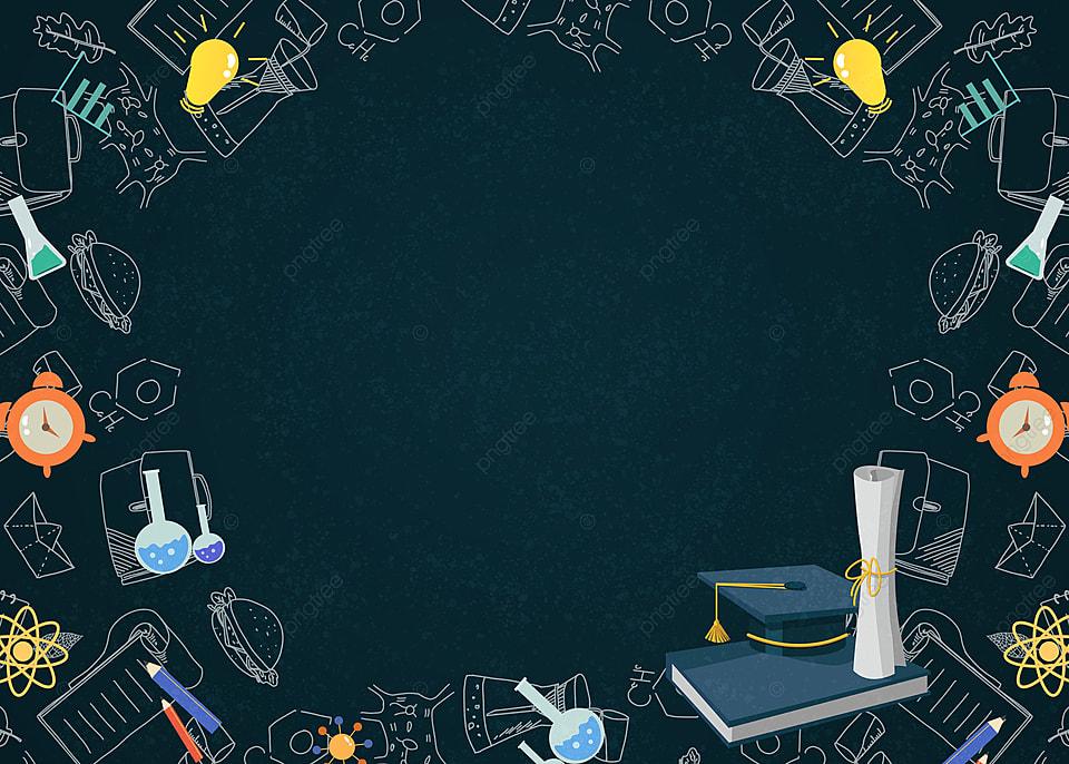 School Supplies Graduation Cap Border Blackboard Education 960x686