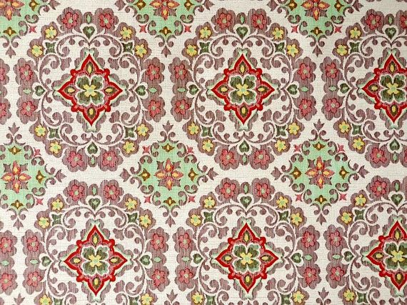 19501960 Vintage Wallpaper Damask brocade florar colorful patterns 570x427