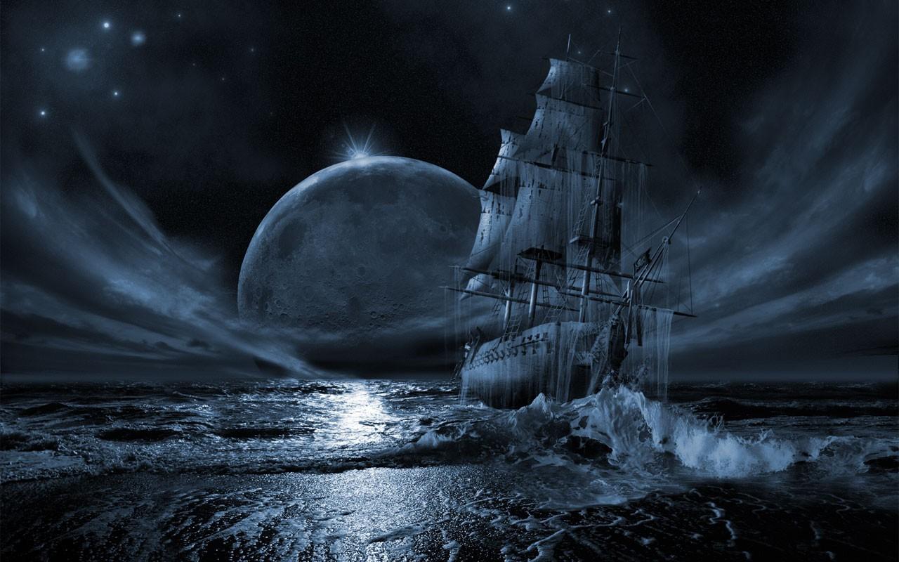 Ocean Seas Stars Pirate Ship Moon Ships Vehicles HD Wallpapersjpg 1280x800