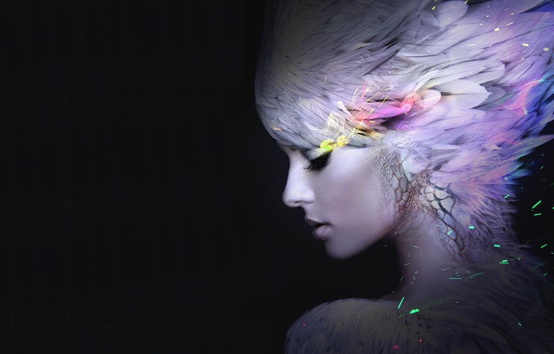 Wallpaper girl feathers art profile black background 1332x850