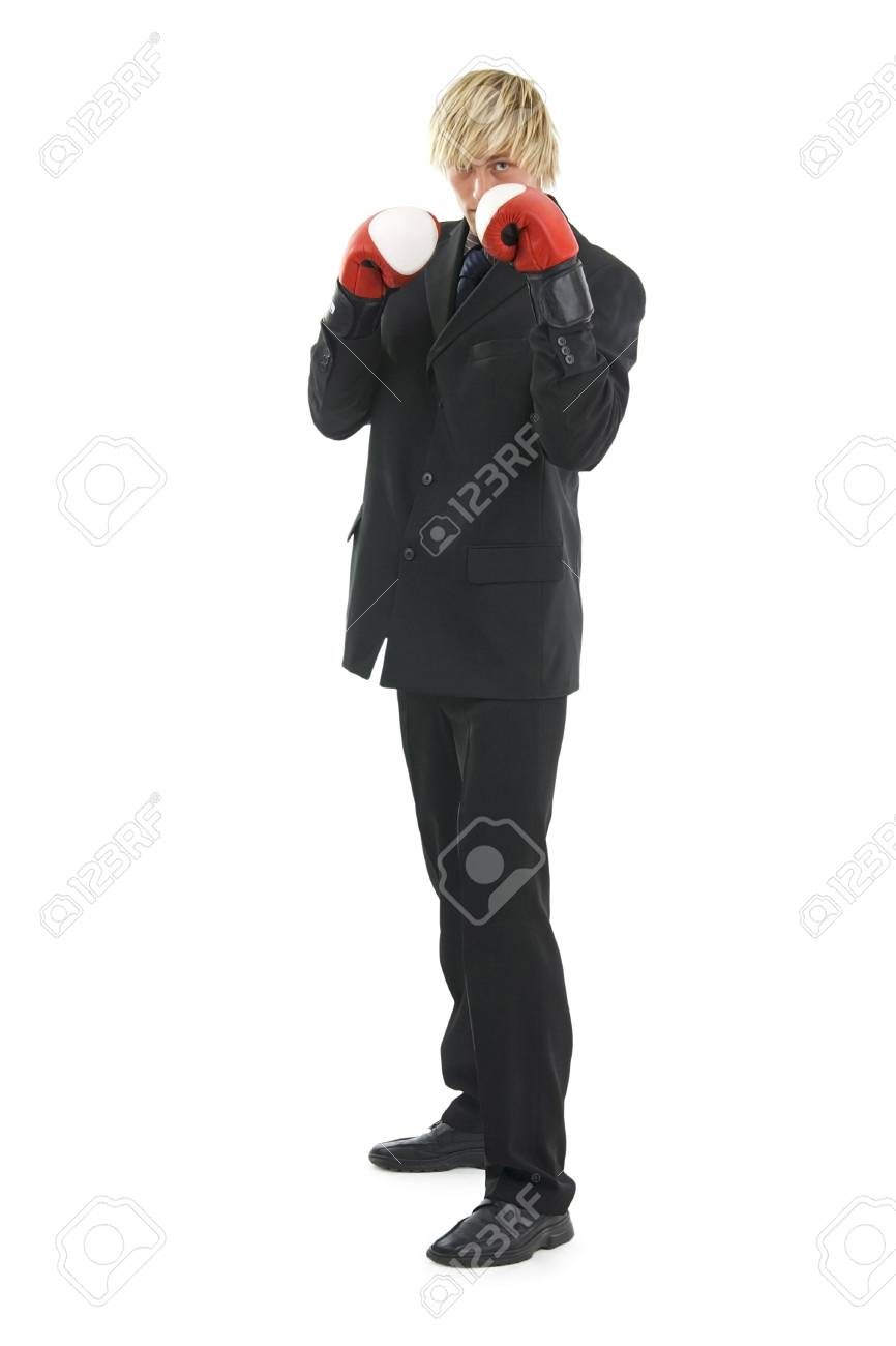 Man In Glad Rags And Boxing Glove On Egg White BackgroundPossible 866x1300
