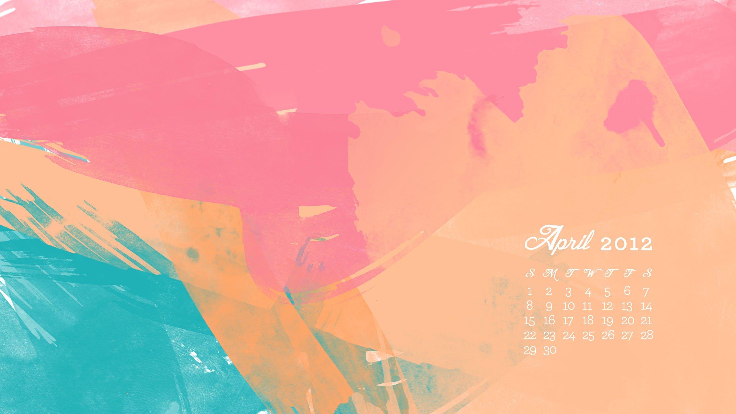 Sarah Hearts   April 2012 Desktop iPhone iPad Calendar Wallpaper 2560x1440