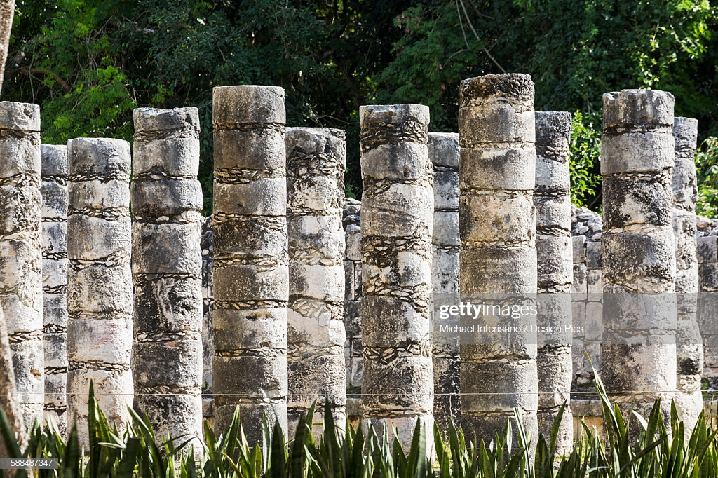 A Series Of Ancient Mayan Stone Columns With Trees In The 1024x682