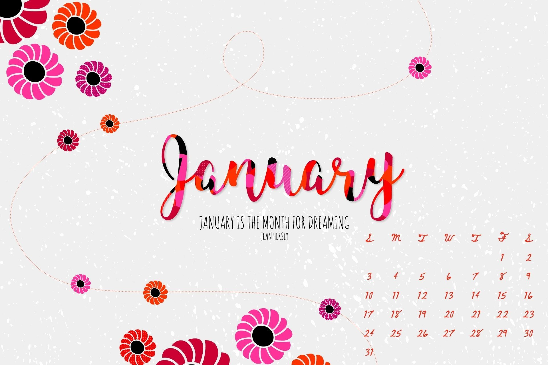 January 2021 Calendar Floral Wallpaper Download in high definition 1920x1280