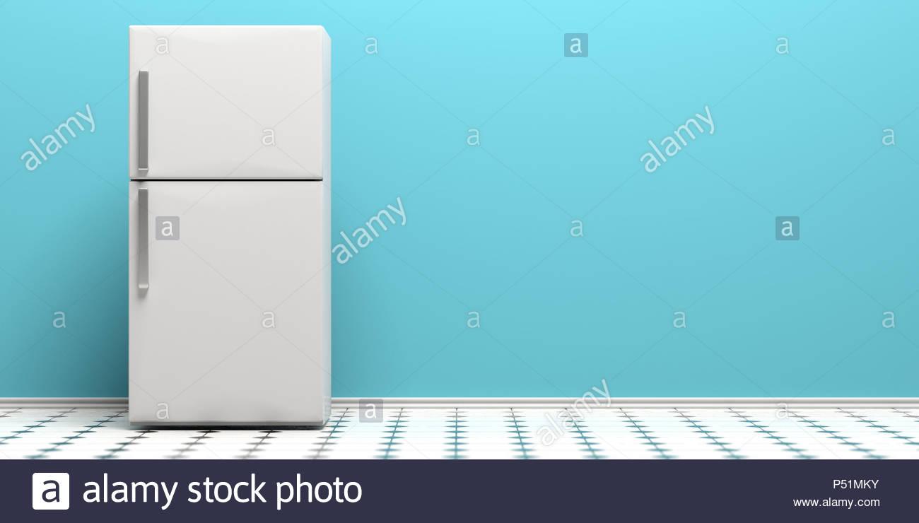 Refrigerator fridge on kitchen tiled floor blue wall background 1300x740