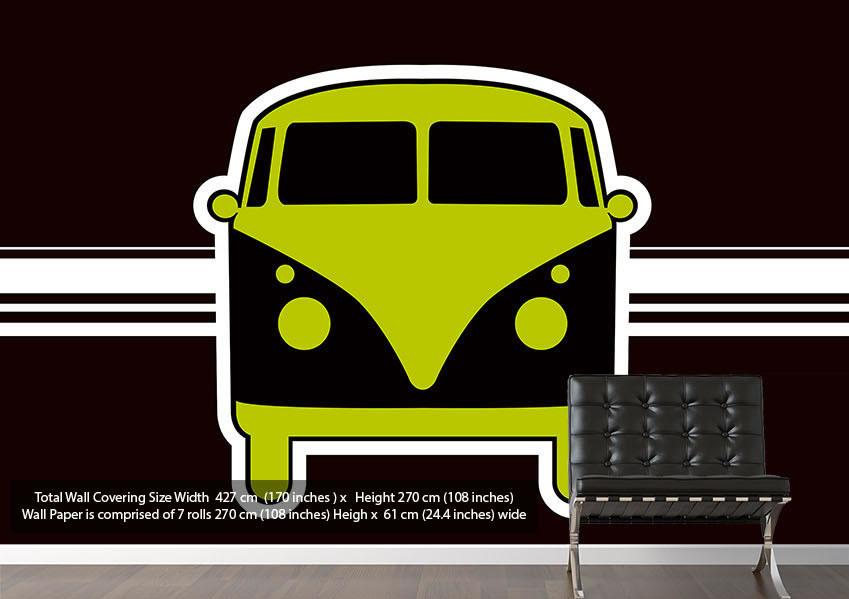 modern retro vw camper van lime green wallpaper murals self adhesive 849x599