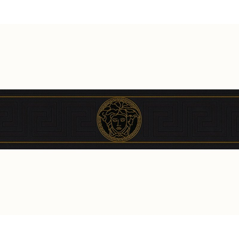 Versace Home Greek Key Black and Gold Luxury Wallpaper Border by AS 800x800