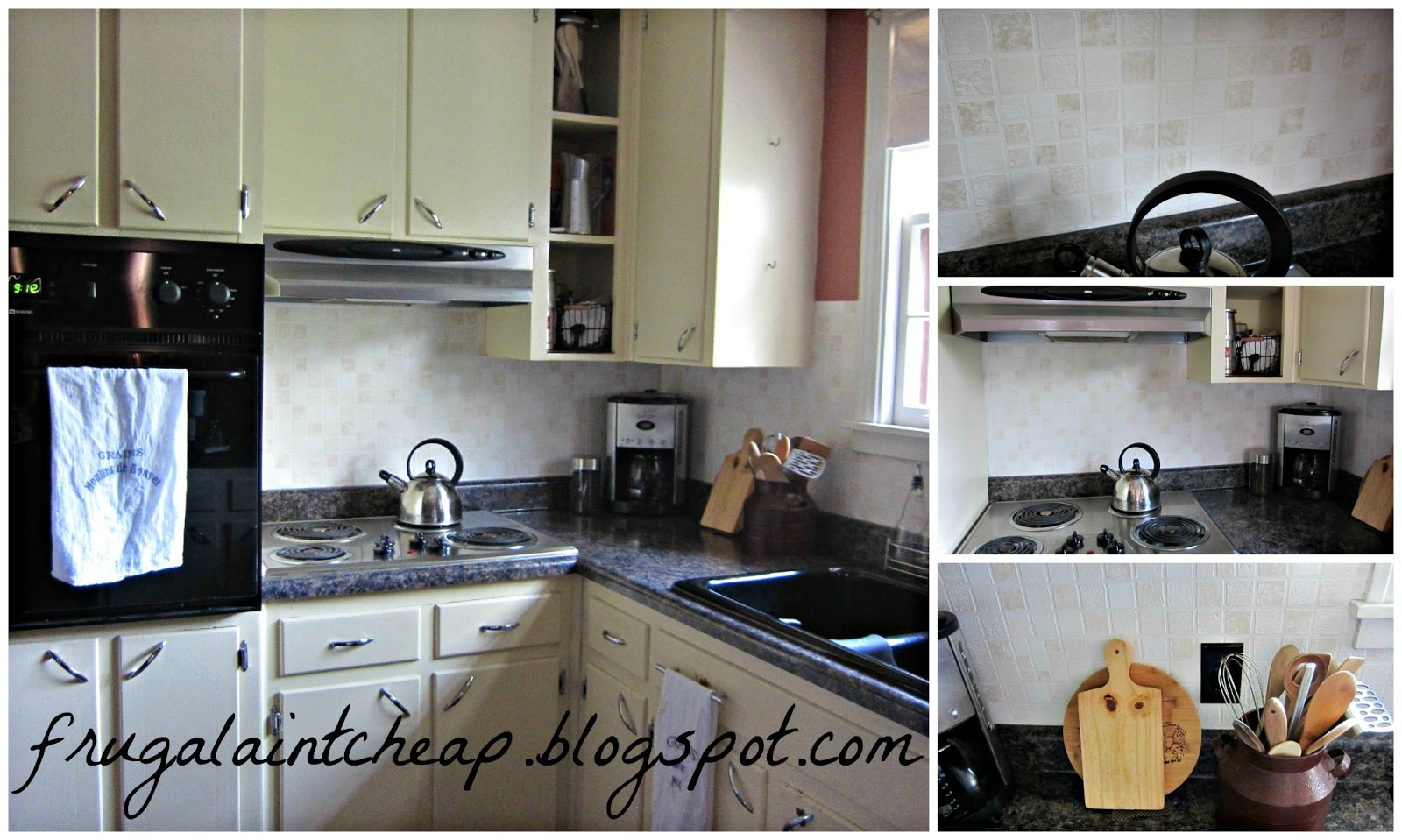 Frugal Aint Cheap Kitchen Backsplash great for renters too 1600x959