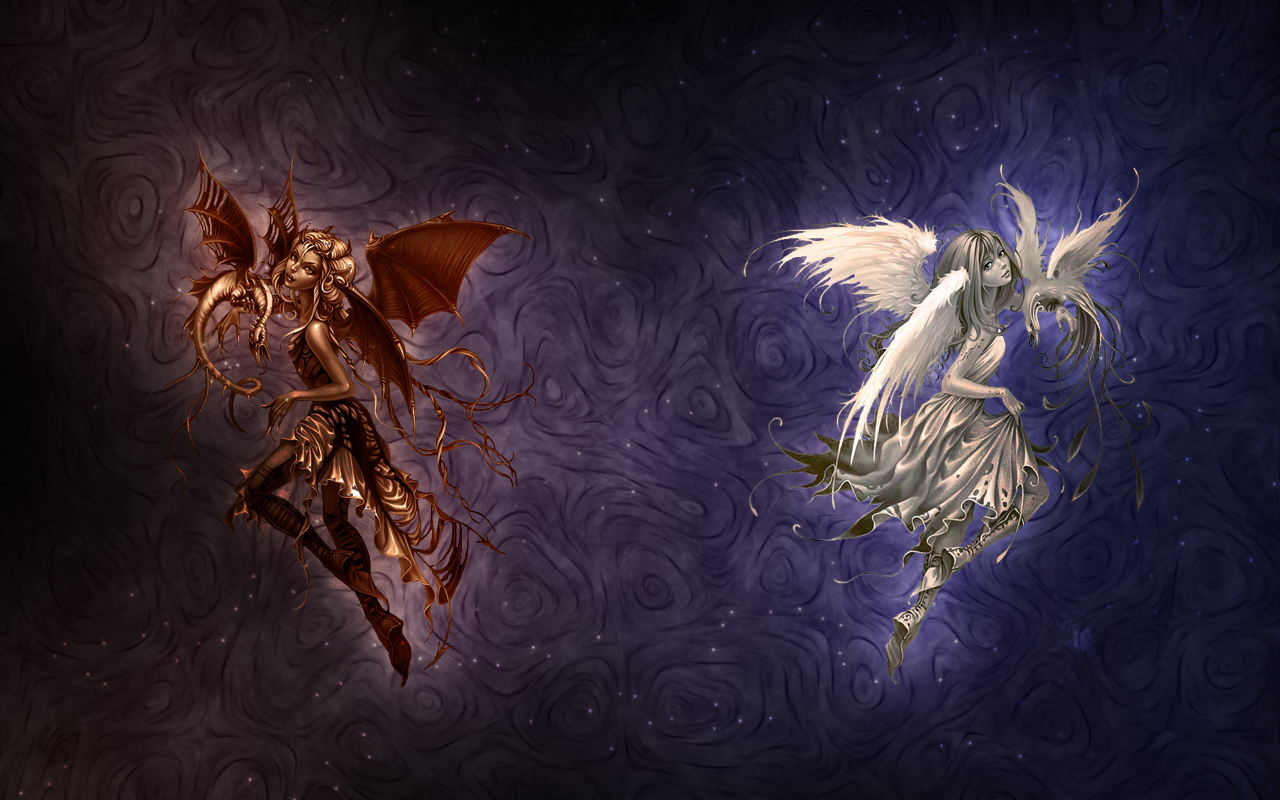 47 Angel And Devil Wallpaper On Wallpapersafari