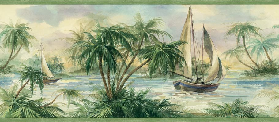 Tropical Sailboat Sage Wallpaper Border   Nautical Murals 911x400