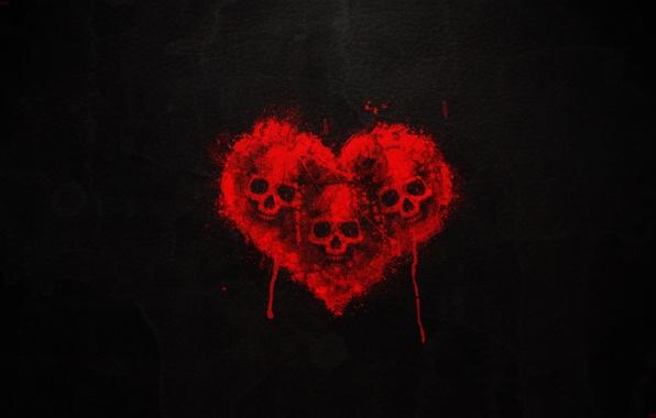 Skull heart blood black background three skulls wallpapers photos 596x380