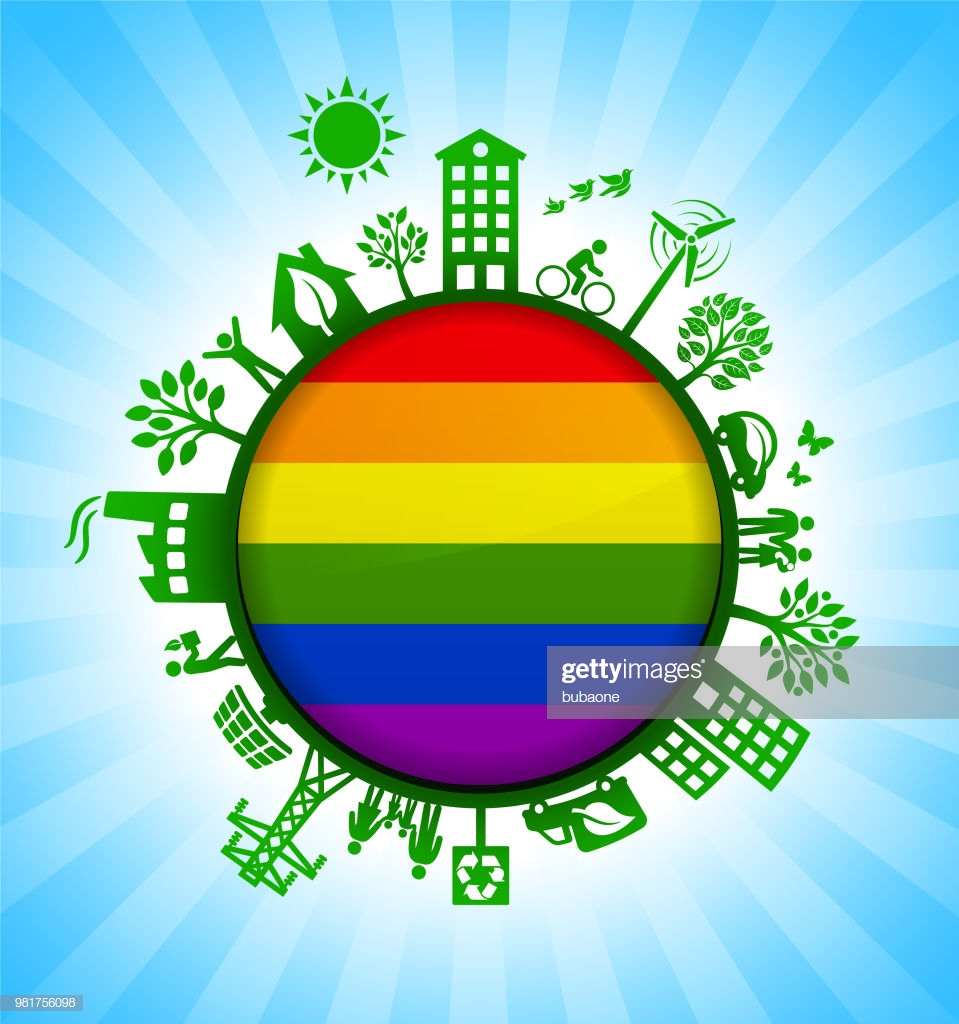 Lgbt Flag On Green Environmental Conservation Background High Res 959x1024