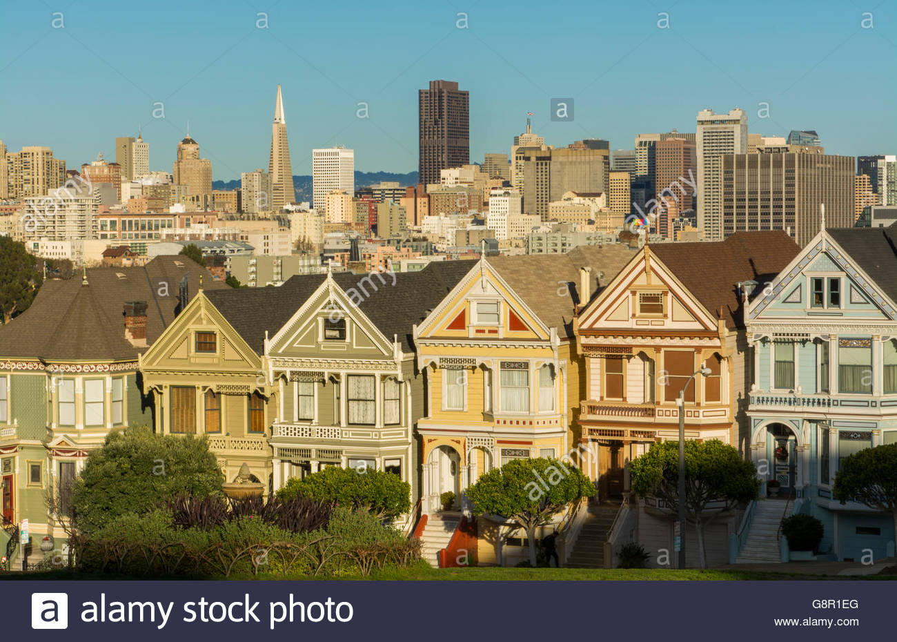 San Francisco California Painted Ladies Victorian homes and city 1300x930