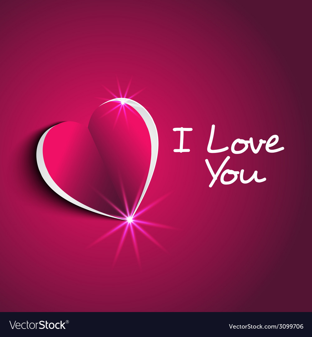 I love you message with modern paper heart shape Vector Image 1000x1080