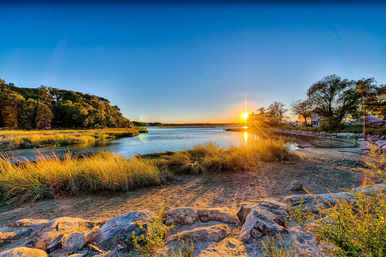 Long island new york usa sky sun sunset river beach rocks 3000x1999