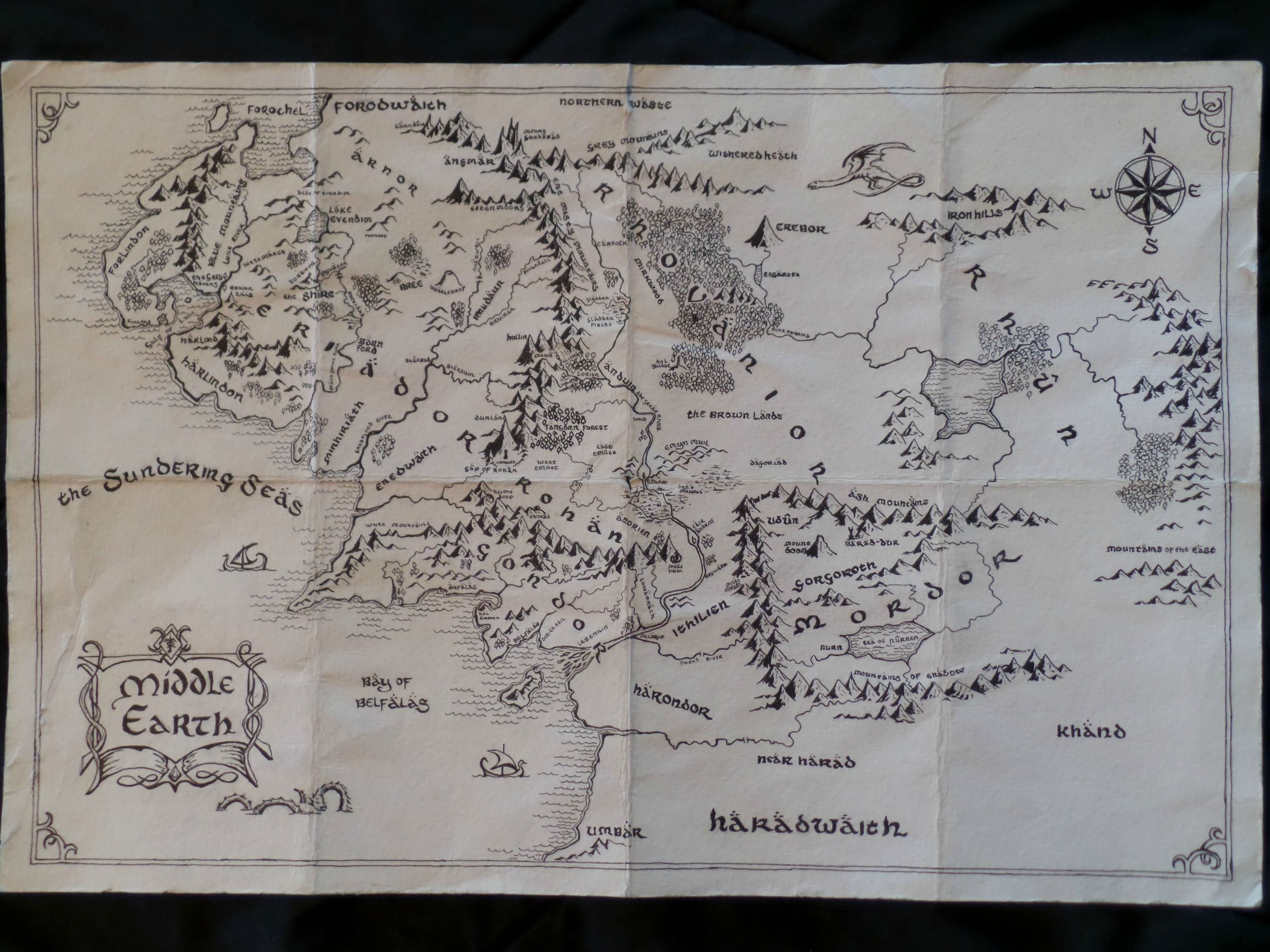Did Maps In Middle Earth Have West: Map Of Middle Earth Wallpaper