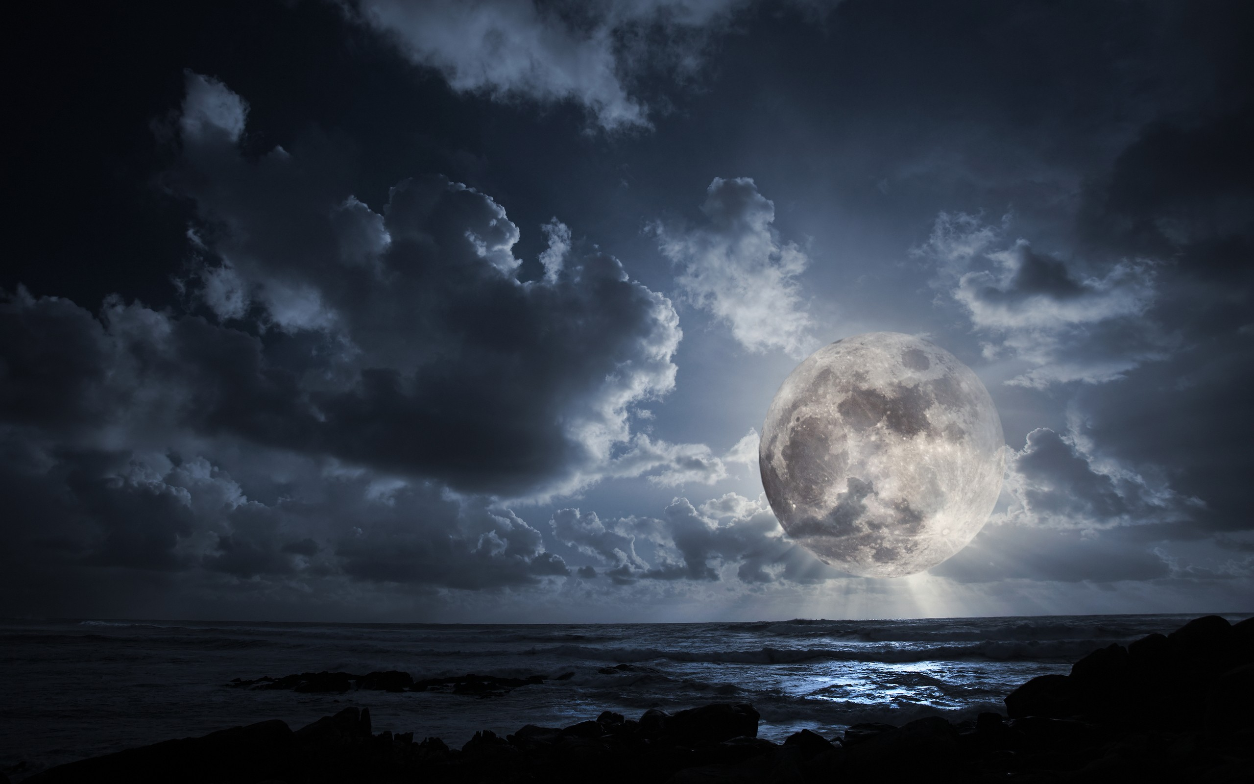 Landscapes outer space dark night moon wallpaper background 2560x1600
