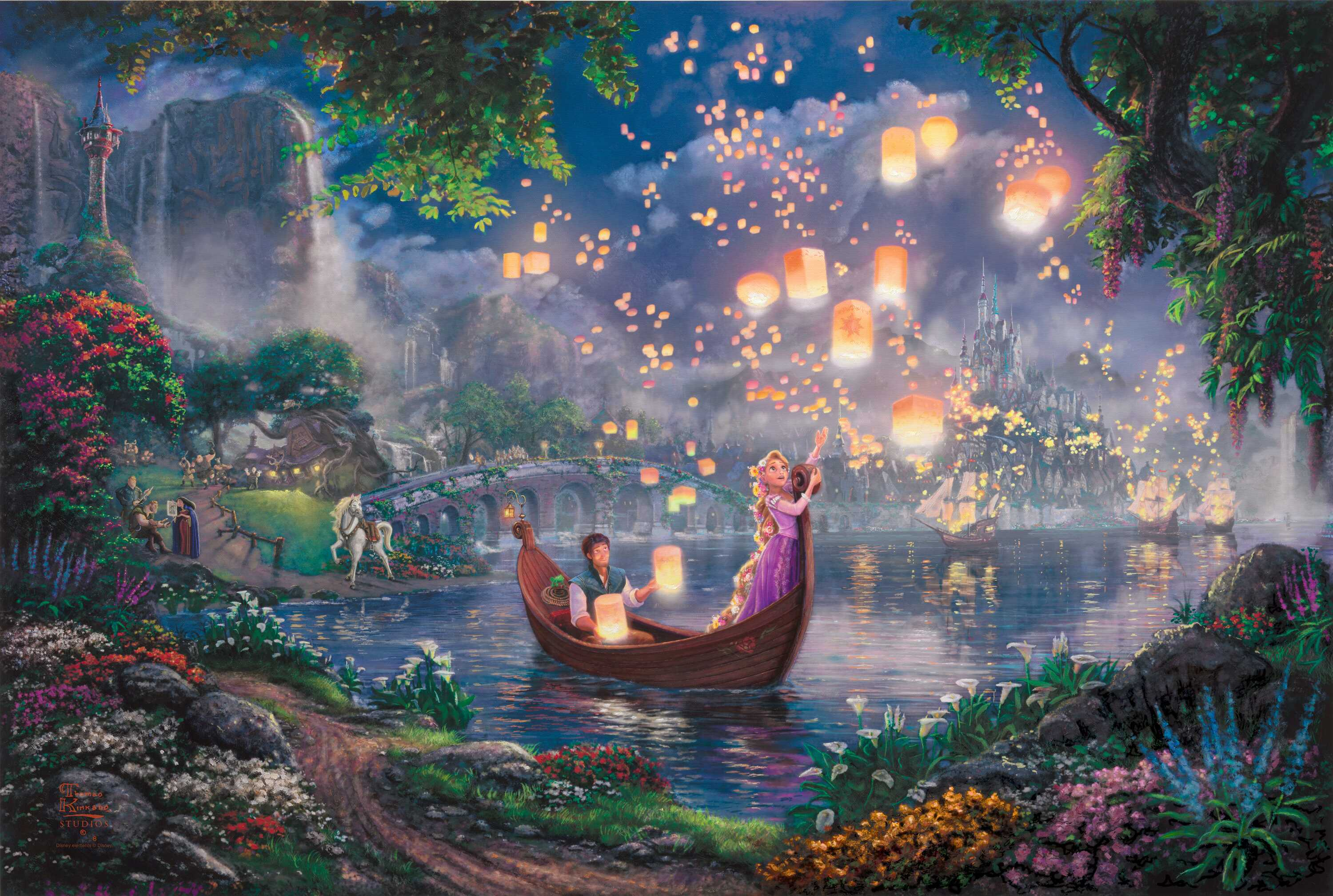 Tangled Wallpaper Thomas Kinkade painting Kinkade Walt Disney 50 3000x2017