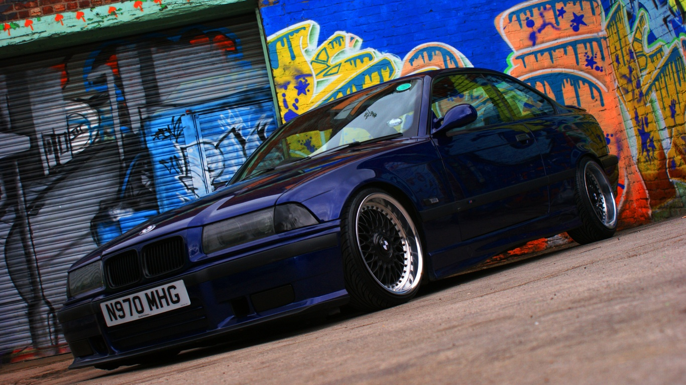 wallpapers BMW E36 M3 3 Series BMW Three Coupe sports car Blue 1366x768