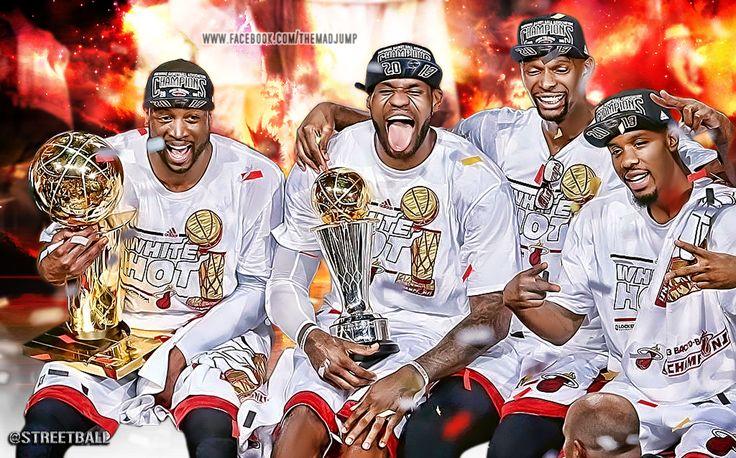 LeBron James Dwyane Wade and Chris Bosh Miami Heat NBA Championship 736x458