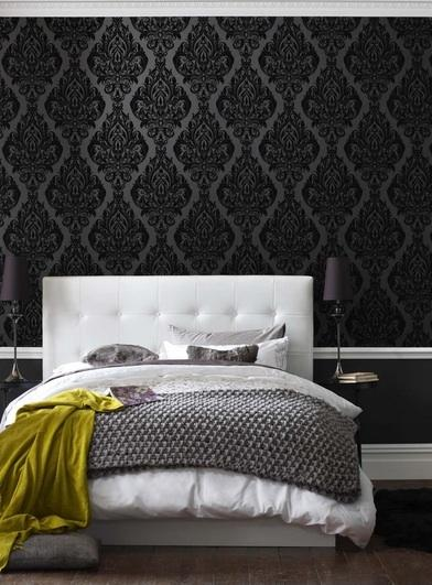 bedrooms wallpaper black wallpaper black damask wallpaper chair 392x531