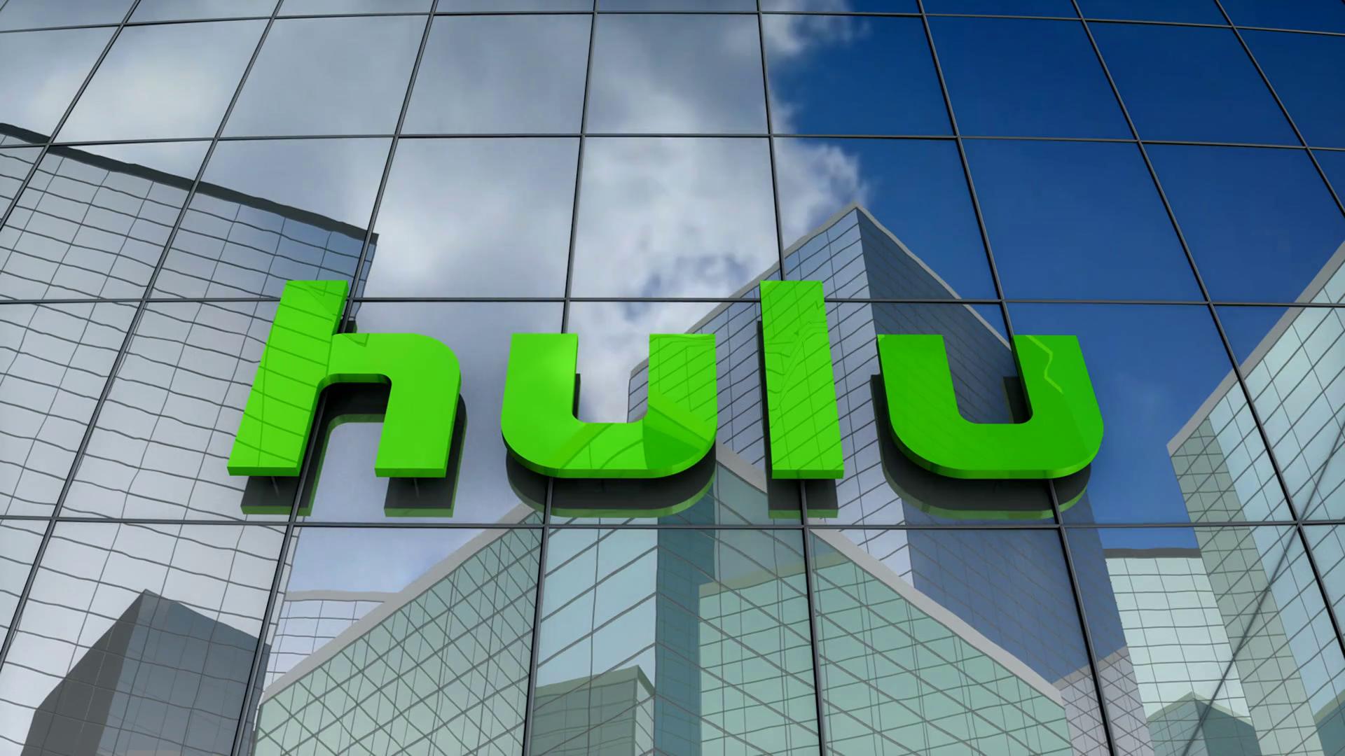 Editorial Hulu LLC logo on glass building Motion Background 1920x1080
