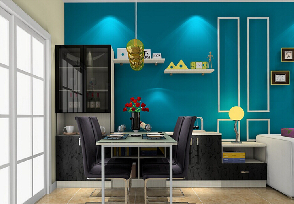 Blue wallpaper for dining room wallpapersafari for 3d wallpaper for dining room