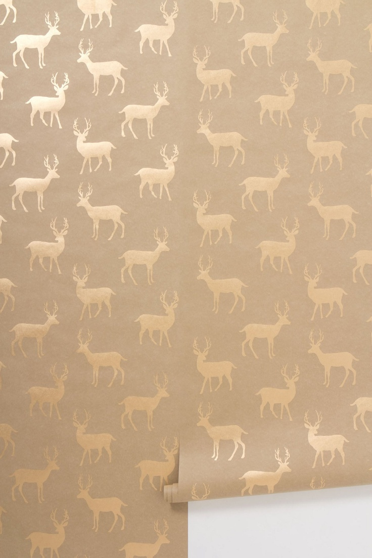 Metallic Stag Wallpaper   Anthropologiecom I want this so bad but at 736x1104