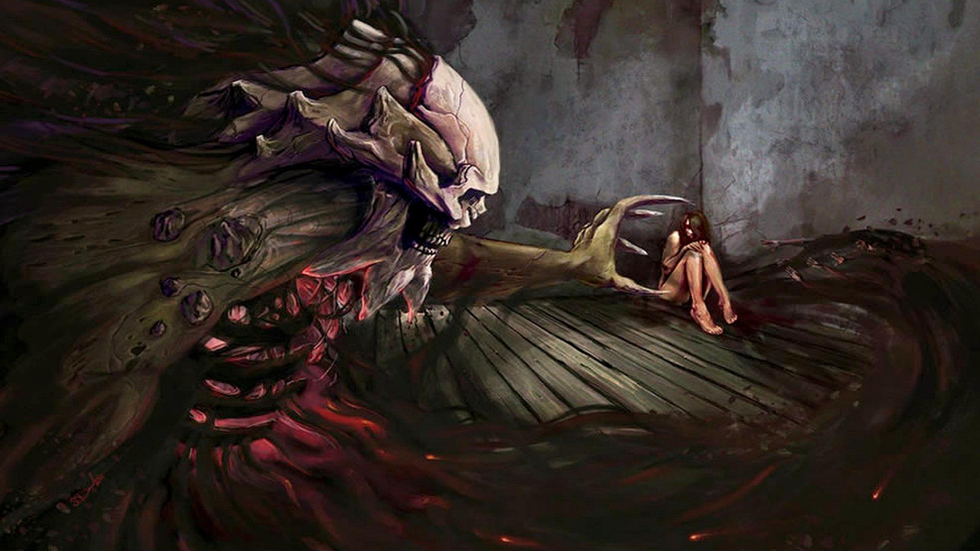 demon skull skeleton macabre gothic women girl mood scared wallpaper 1920x1080