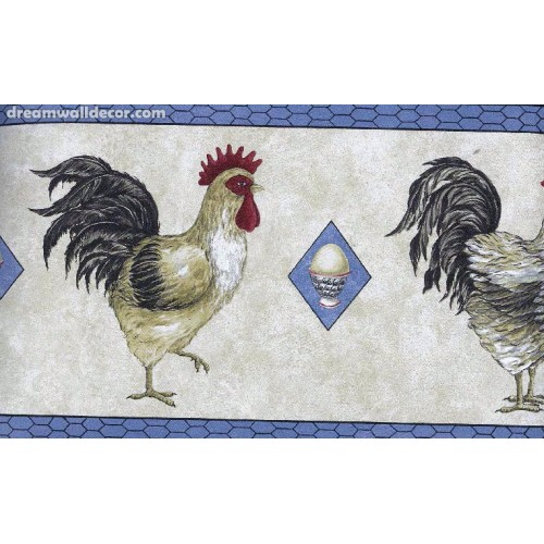 Black Blue Cream Chickens Wallpaper Border 500x500