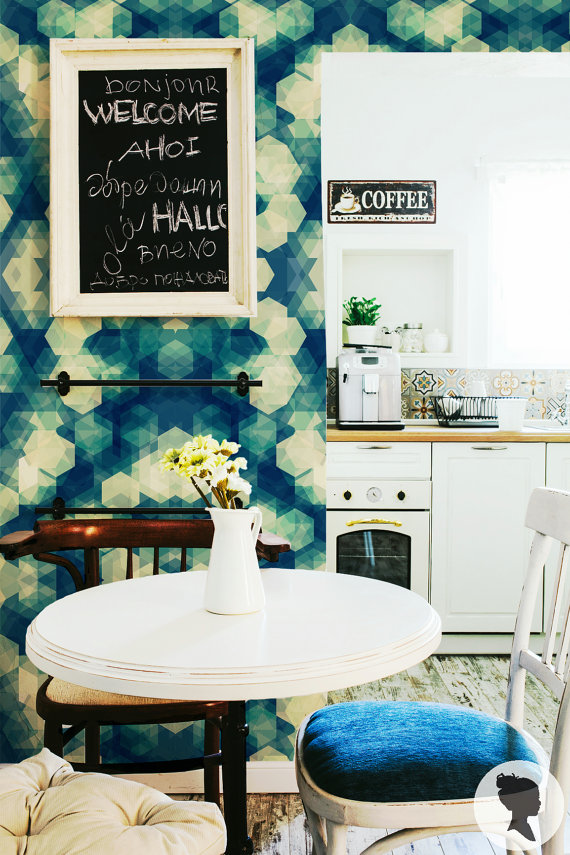 Kaleidoscope Pattern Self Adhesive Removable Wallpaper by Livettes 570x855