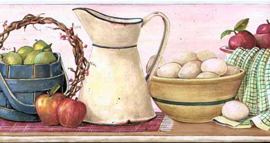 kitchen wallpaper borders on Kitchen Shelf Pink Wallpaper Border 525x279