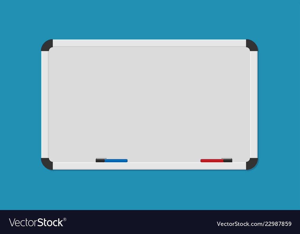Whiteboard background frame with marker in flat Vector Image 1000x780