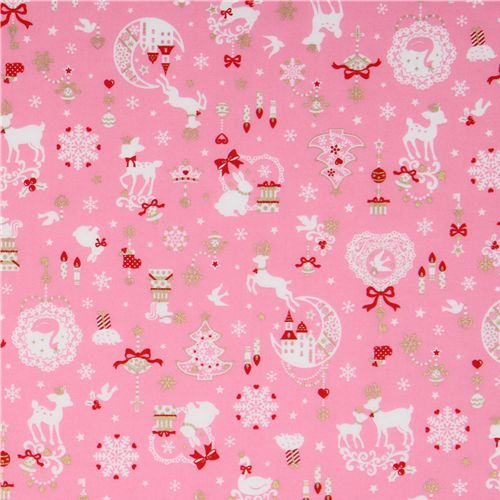 pink kawaii Christmas fabric Bambi bunny glitter Japan   Christmas 500x500