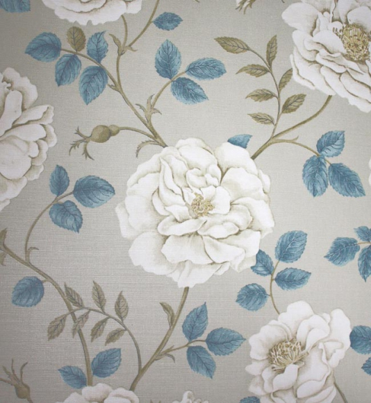 Rosalie Fabric Cream and stone flowers with steel blue leaves on a 534x581