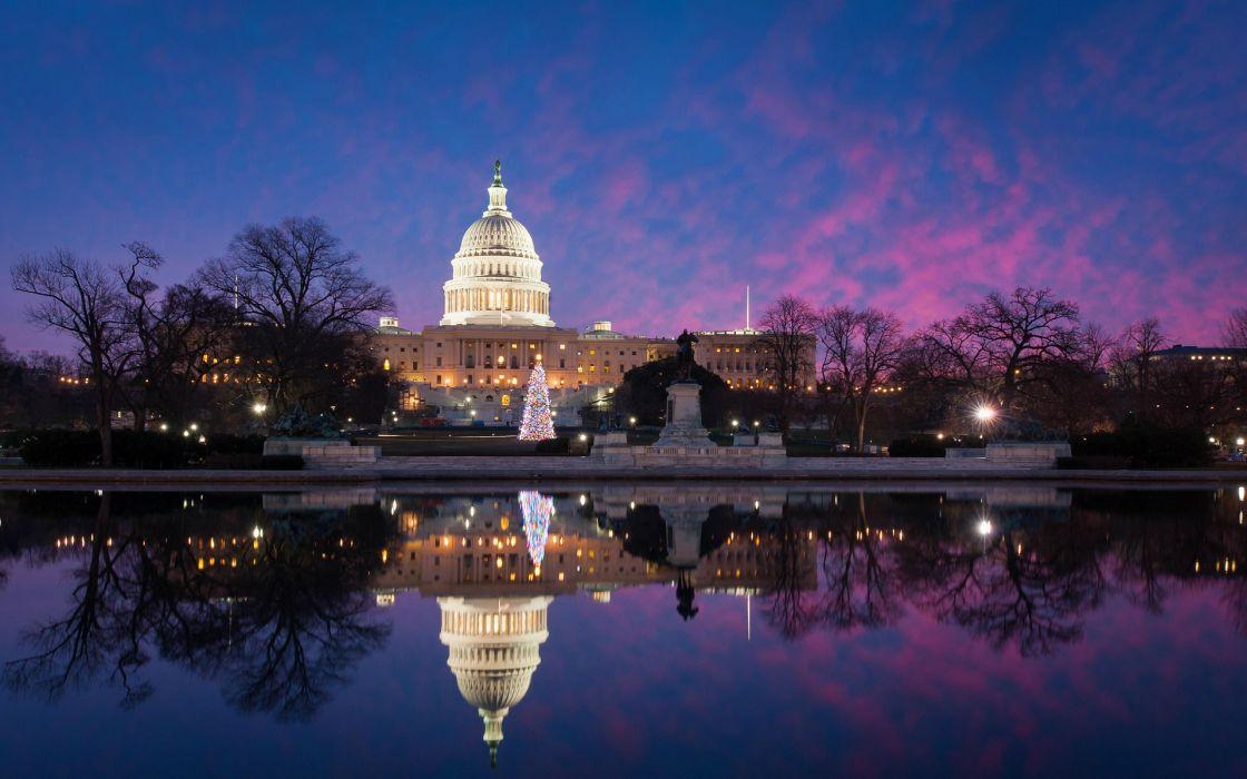 USA Winter Washington United states capitol lakes pond reflection 1120x700