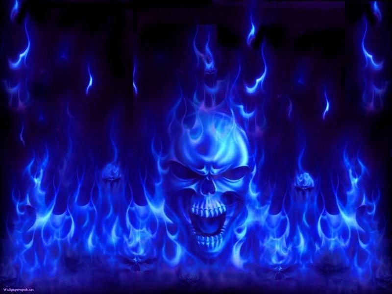 Blue Flame Skull Wallpaper Wallpapersafari