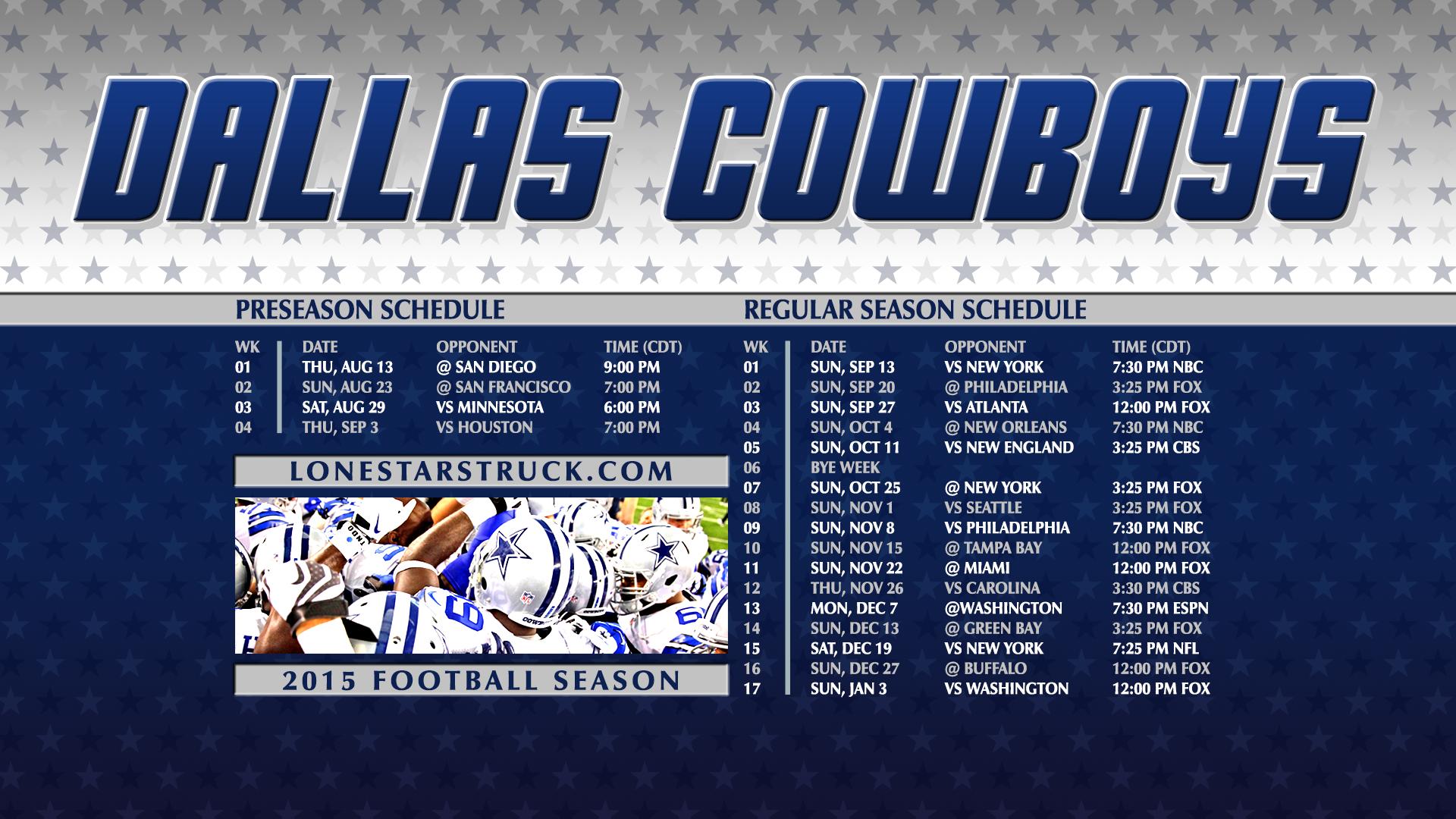 dbdd8ef4901 Dallas Cowboys Schedule 2015 Wallpaper - WallpaperSafari