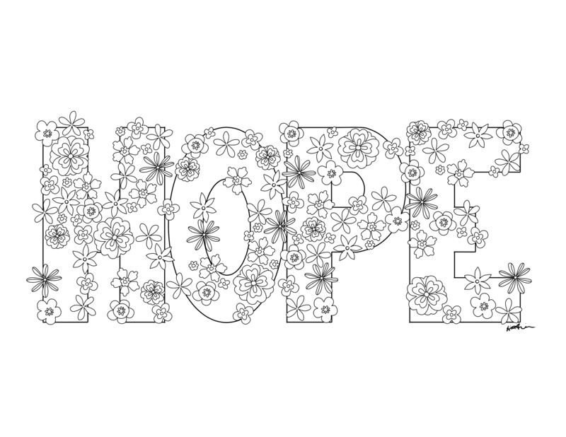 Hope with Flowers Coloring Page by KaleyObsidia 800x618