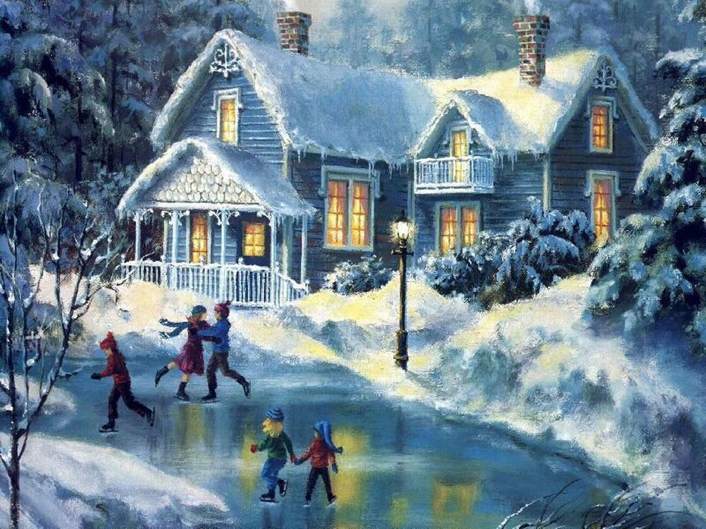 Winter Christmas paintings 1024x768