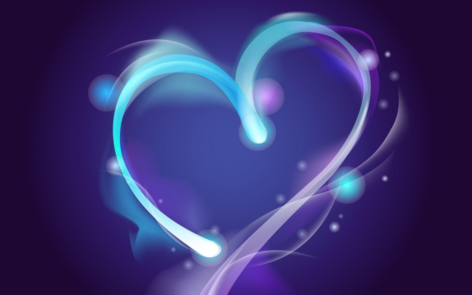 3d Art Heart Blue 1920x1200