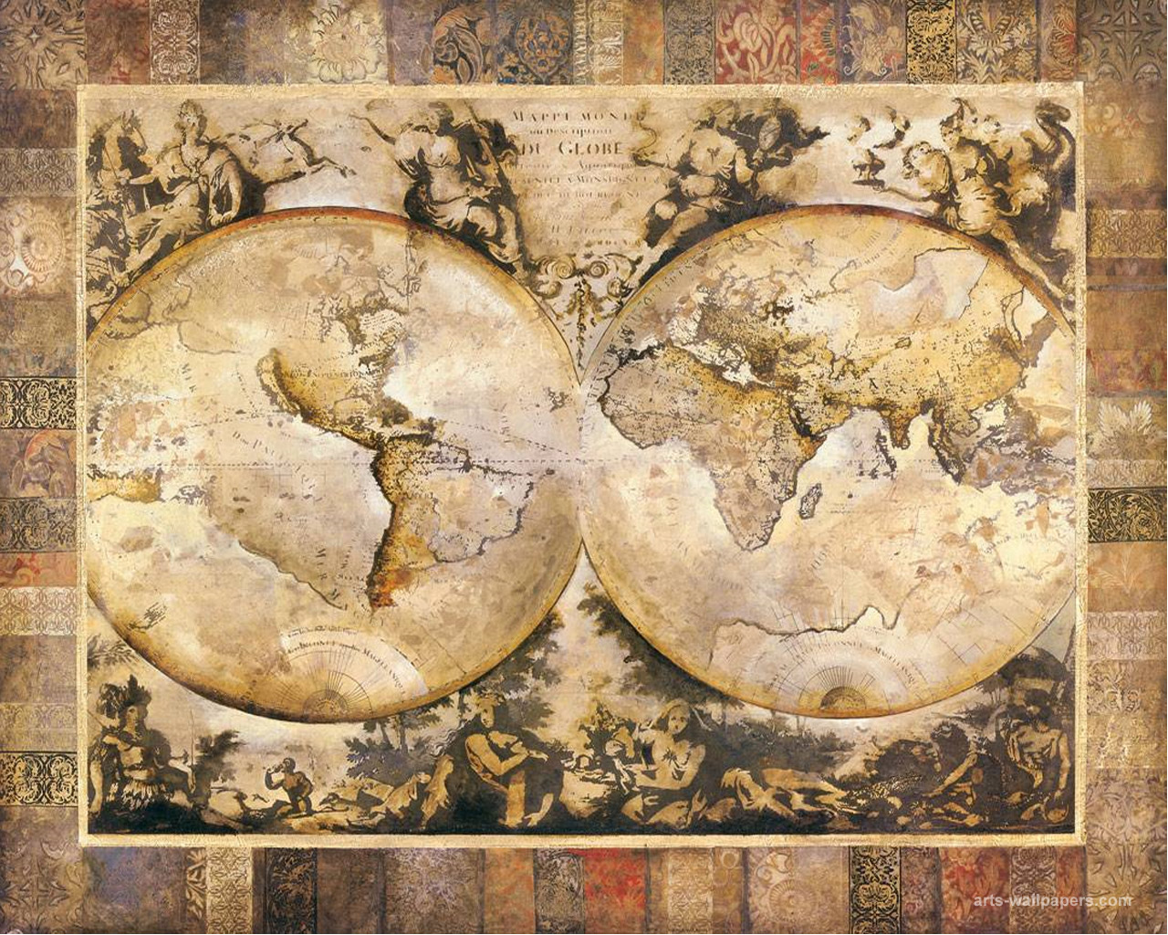 Vintage map wallpaper wallpapersafari fotos antique map wallpaper 1280x1024 gumiabroncs Gallery
