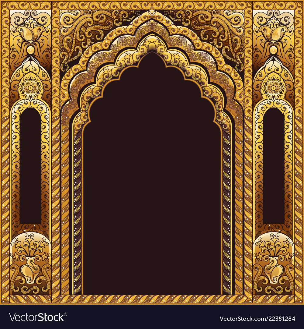India arch gold and background black Royalty Vector 1000x1080