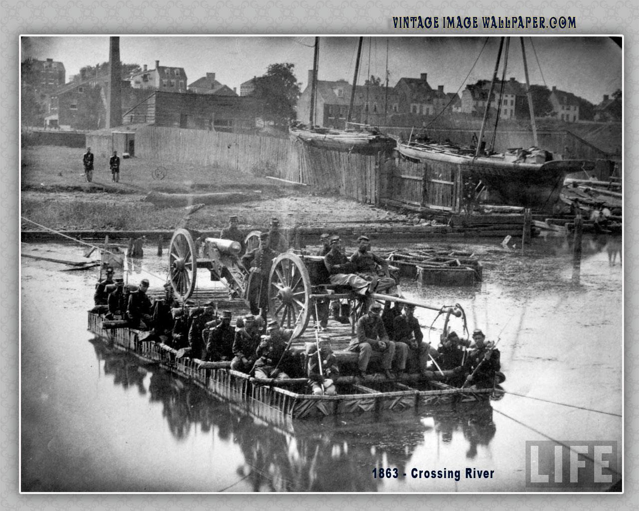 1863 Crossing River Desktop Wallpaper in Vintage 1280x1024