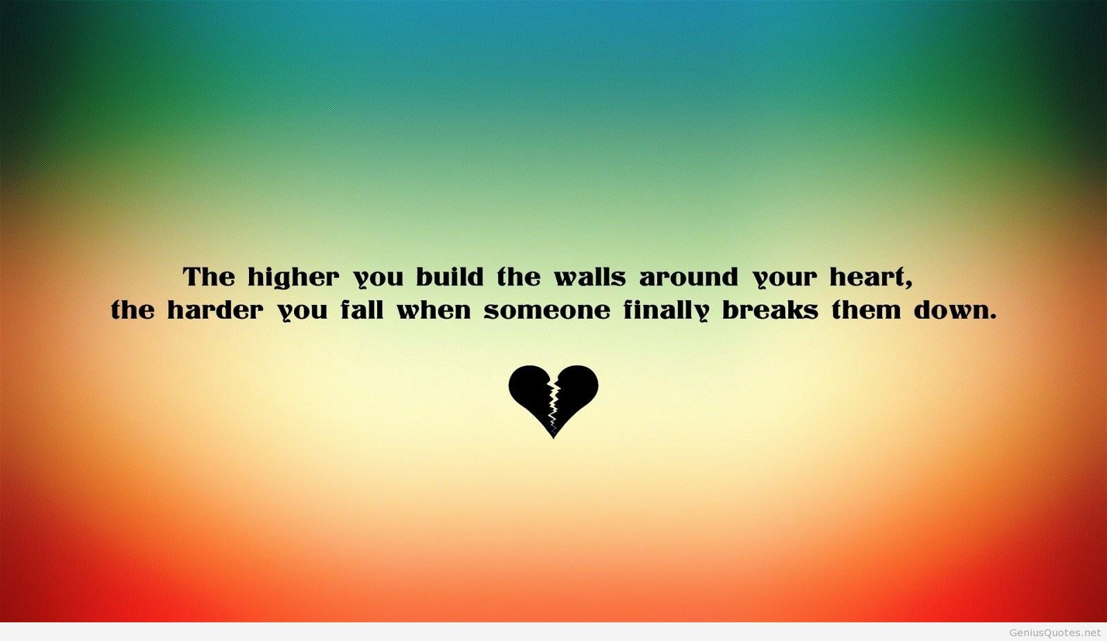 Broken heart love wallpaper with quote 1600x927