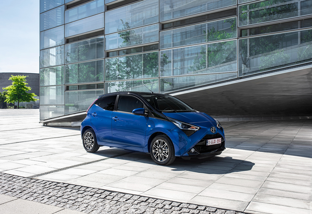 Wallpapers Toyota 2018 Aygo 5 door Worldwide Blue Cars 1280x877