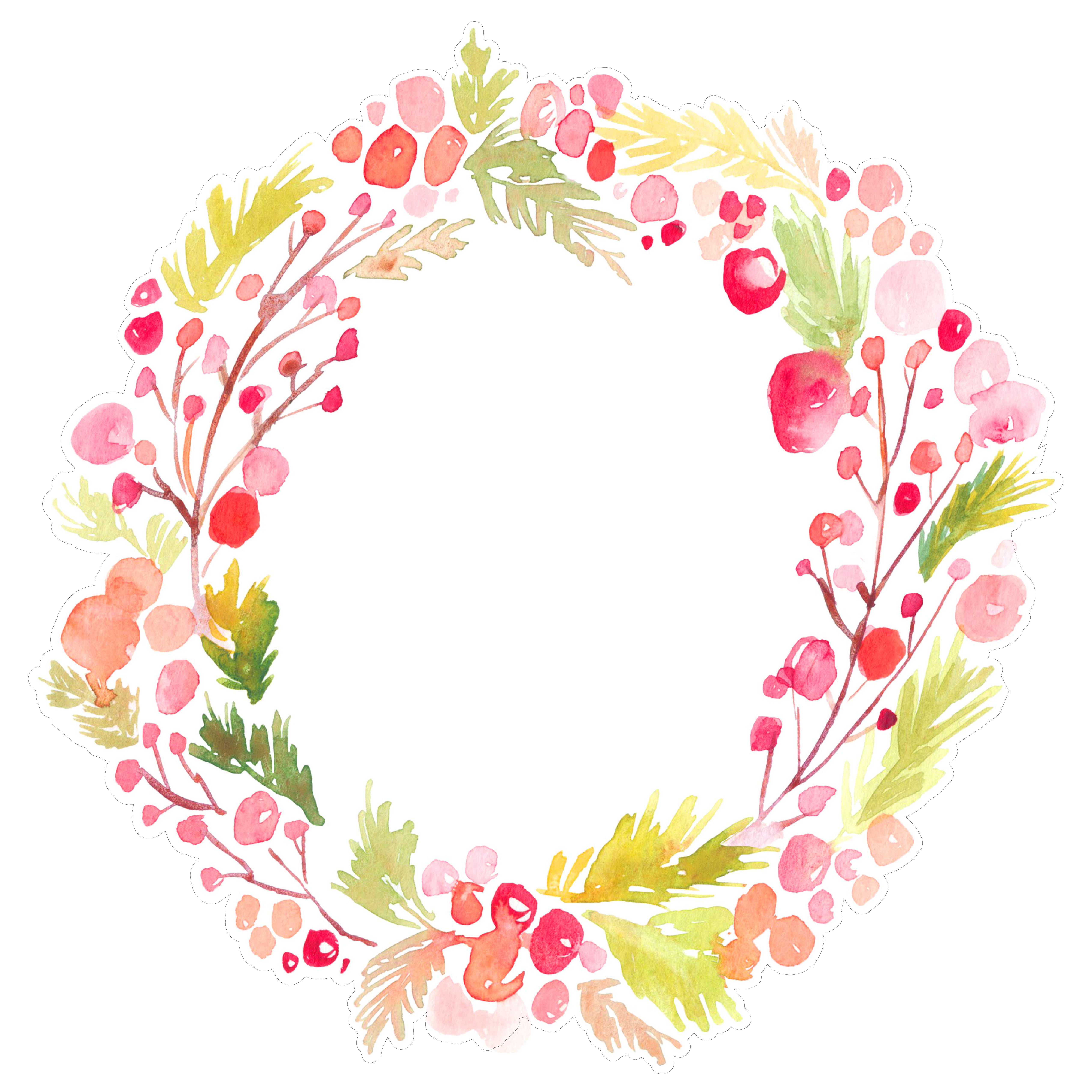 Christmas Wreath Background SVG File   Watercolor Christmas Wreath 5100x5100